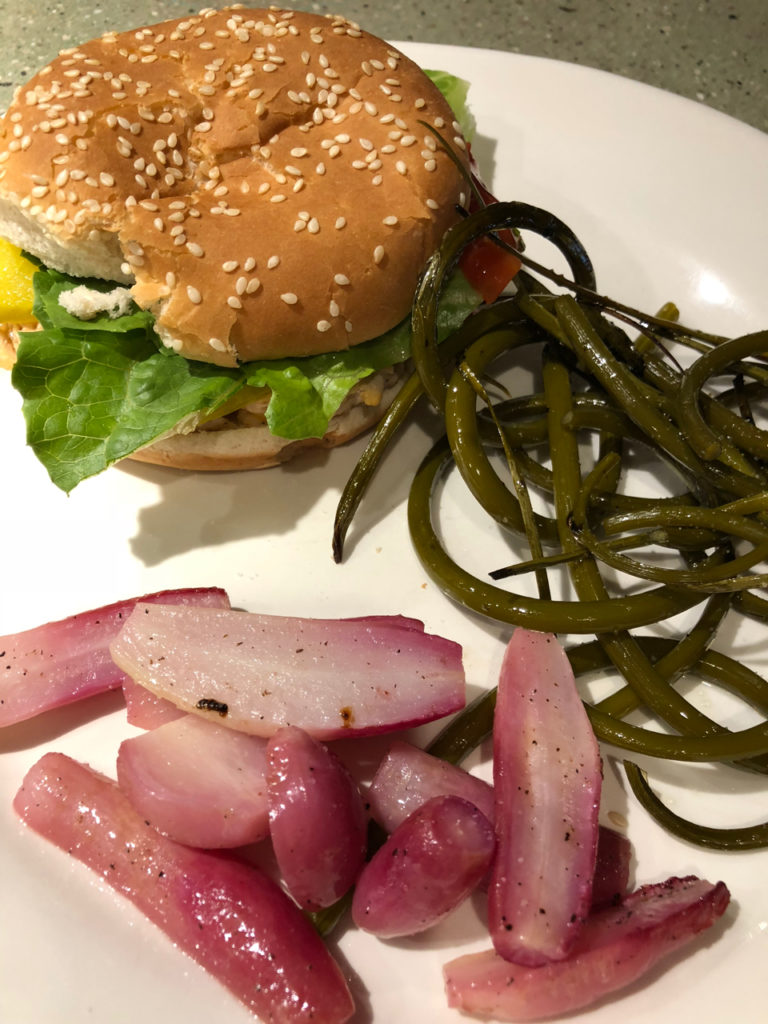 Roasted Radishes and Garlic Scapes with a Turkey Burger - One Day Woman