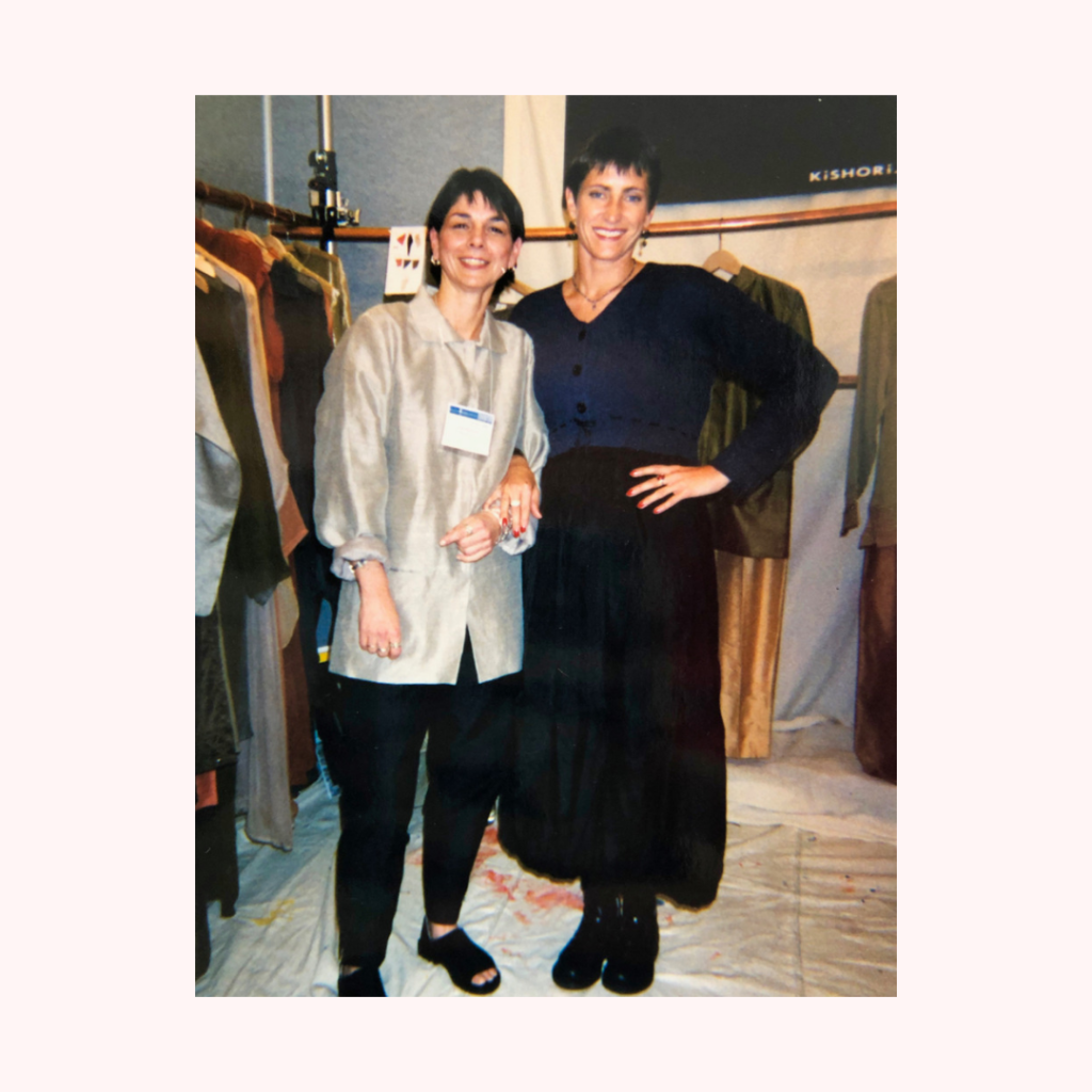 Me and a Designer's Sales Rep at a New York Show in the 1990's - Fashion Crisis
