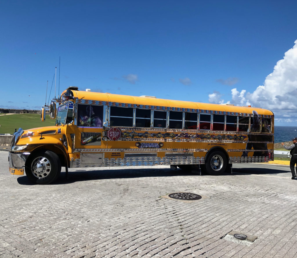 A picture of a tricked out school bus on Bus on Calle Norzagaray in Old San Juan