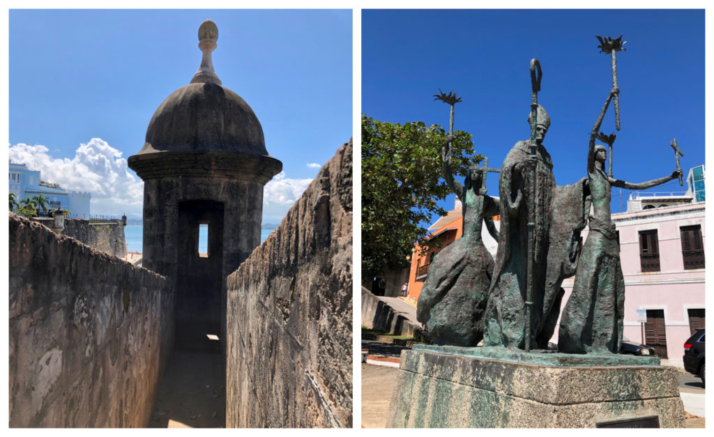 Two pictures at the Plazuela La Rogativa. One of the view of the old fort wall with sea and the La Fortelaza in the back ground and on of the statue La Rogativa in Old San Juan, Puerto Rico