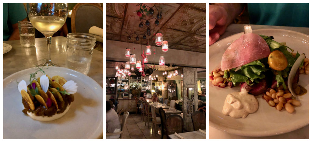 Three pictures, one of a Goat Cheese Appetizer, one of the interior of the restaurant Verde Mesa, and one of a Beef Entree