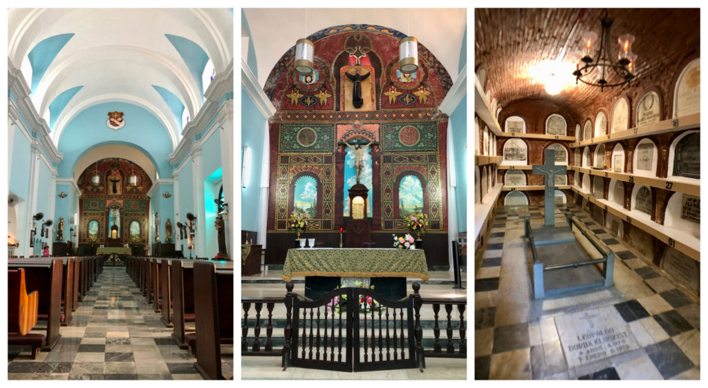 Three pictures of the interior, including the crypt, mural, and vaulted ceiling of the Parroquia San Francisco de Asis in Old San Juan, Puerto Rico