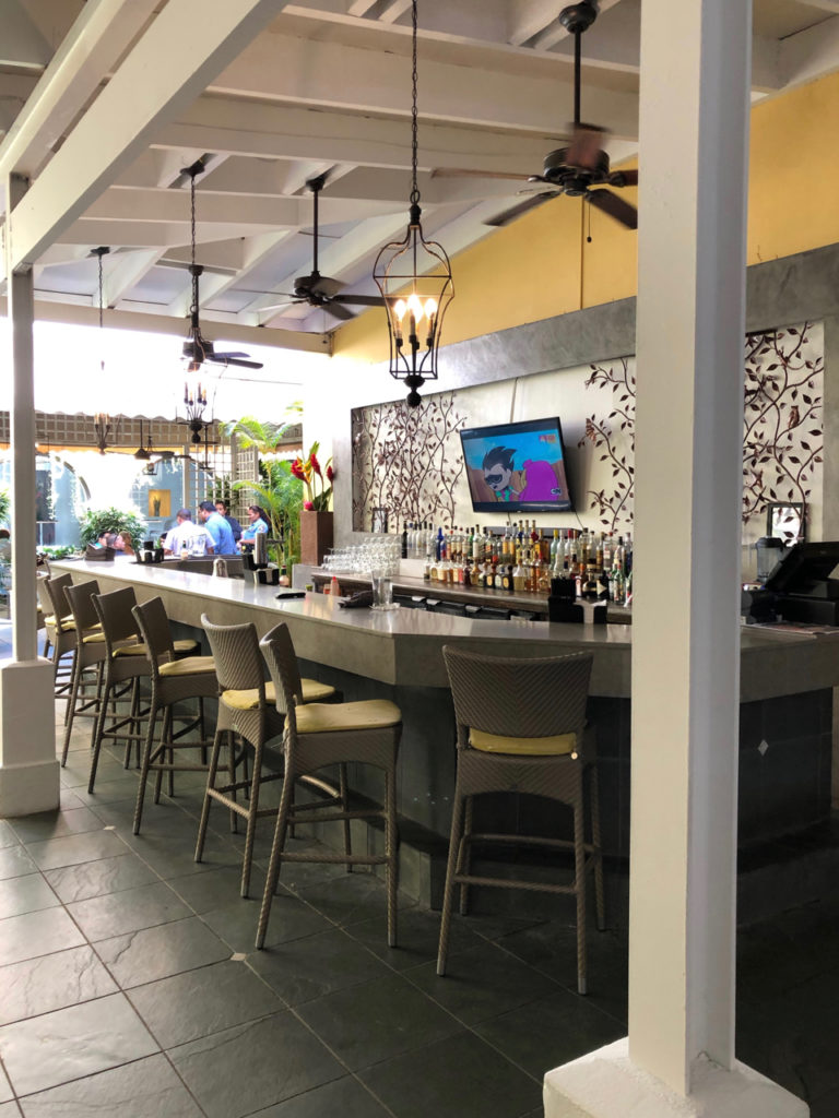 A picture of a bar in the Patio del Nispero Restaurant at Hotel El Convento, in Old San Juan, Puerto Rico