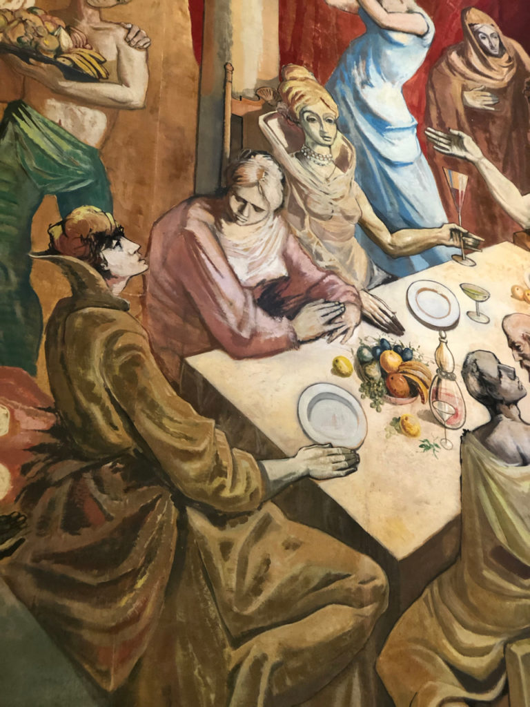 A picture of a mural in the Salon Campeche in the Hotel El Convento which shows people eating at a feast