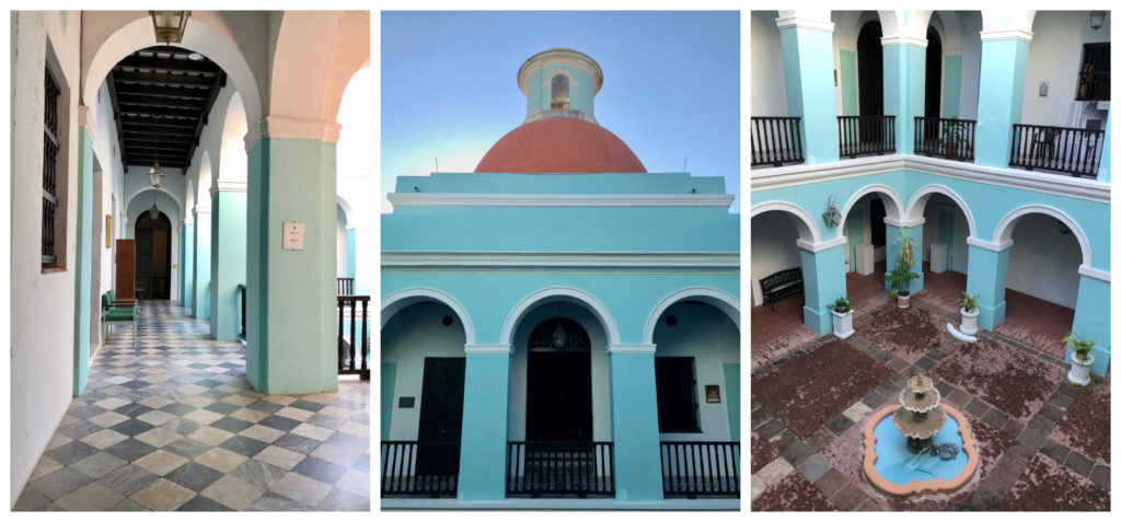 Three pictures of the interior spaces of the Center for Advanced Studies with blue and white paint in Old San Juan, Puerto Rico