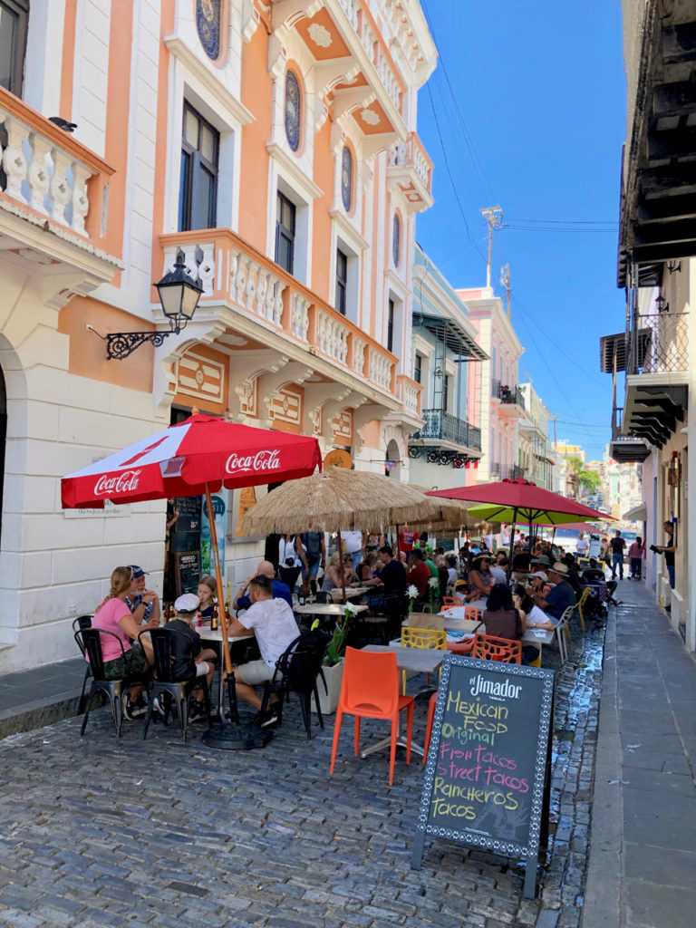 A picture of a street cafe in Calle del Cristo Old San Juan, Puerto Rico