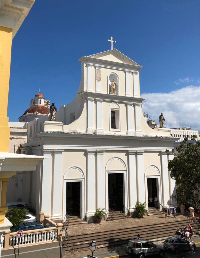 A picture of San Juan Bautista Cathedral from the Wine Patio at Hotel El Convento
