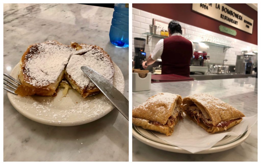 Two Pictures one of a Mallorca Breakfast sandwich and the other of a pastry filled with guava called a Pastelillo de Guayaba